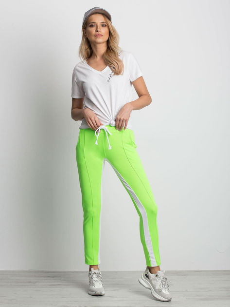 Fluo zielone spodnie dresowe Defined                              zdj.                              4