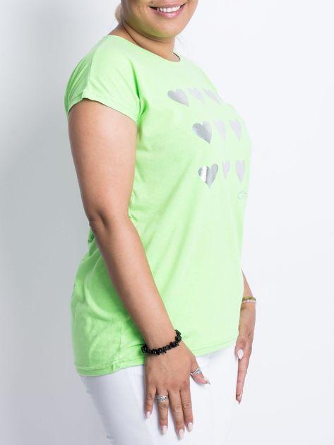 Fluo zielony t-shirt plus size Hearties                              zdj.                              3