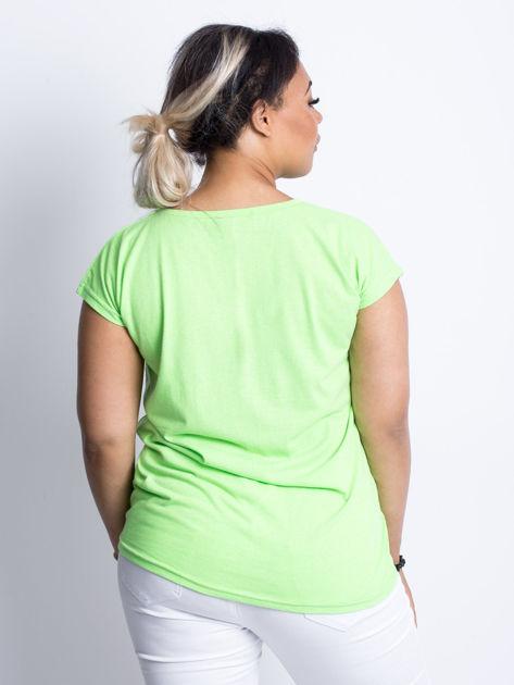 Fluo zielony t-shirt plus size Hearties                              zdj.                              2