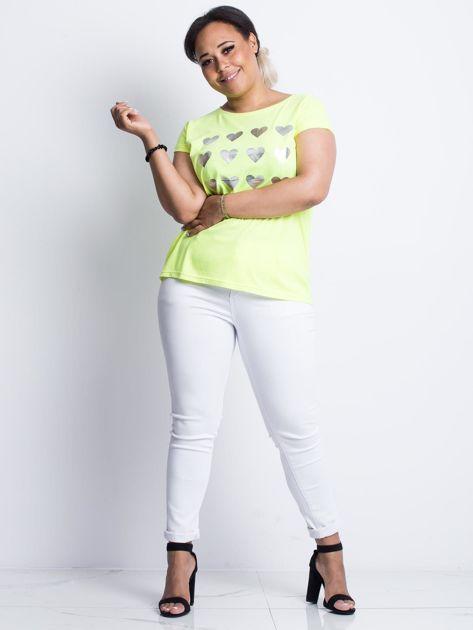 Fluo żółty t-shirt plus size Hearties                              zdj.                              4