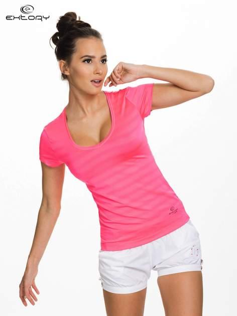 Fluociemnoróżowy damski t-shirt sportowy w paski
