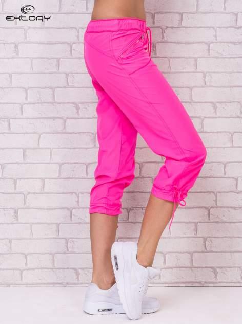 Fluozielone spodnie sportowe capri z wiązaniem                                  zdj.                                  4