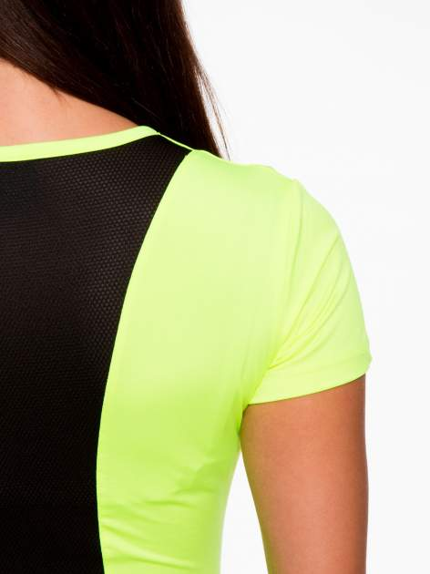 Fluozielony termoaktywny t-shirt sportowy z siateczkowymi modułami ♦ Performance RUN                                  zdj.                                  8