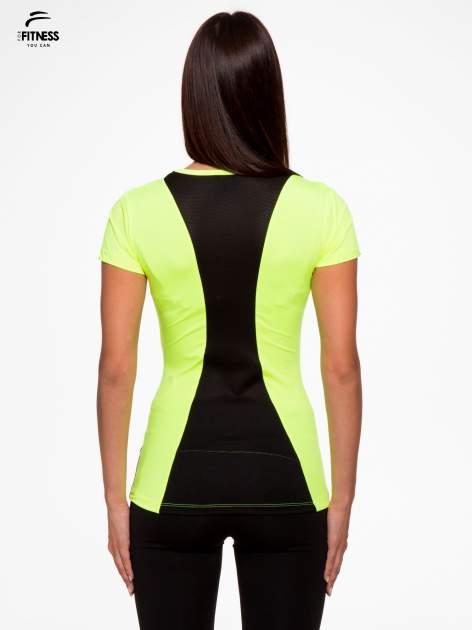 Fluozielony termoaktywny t-shirt sportowy z siateczkowymi modułami ♦ Performance RUN                                  zdj.                                  4