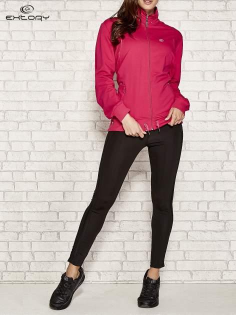 Fuksjowa bluza sportowa fitness ze wstawkami                                  zdj.                                  2