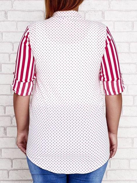 Fuksjowa koszula w paski i groszki PLUS SIZE