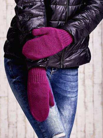 Fuksjowe gładkie rękawiczki z jednym palcem                                  zdj.                                  1