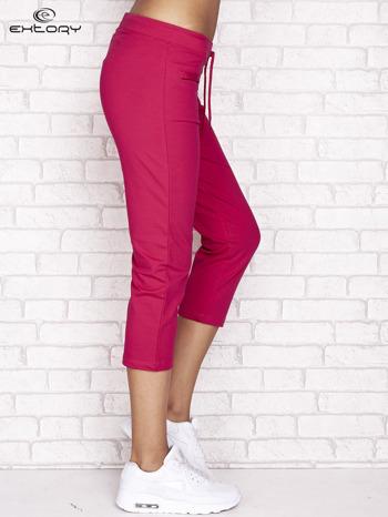 Fuksjowe spodnie dresowe capri z wszytymi kieszonkami                                  zdj.                                  2