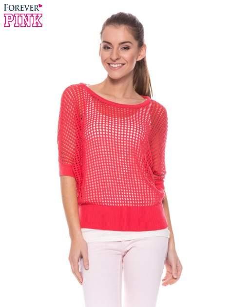 Fuksjowy ażurowy sweter oversize                                  zdj.                                  1