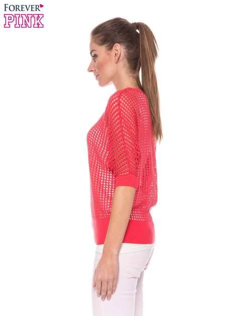 Fuksjowy ażurowy sweter oversize                                  zdj.                                  3