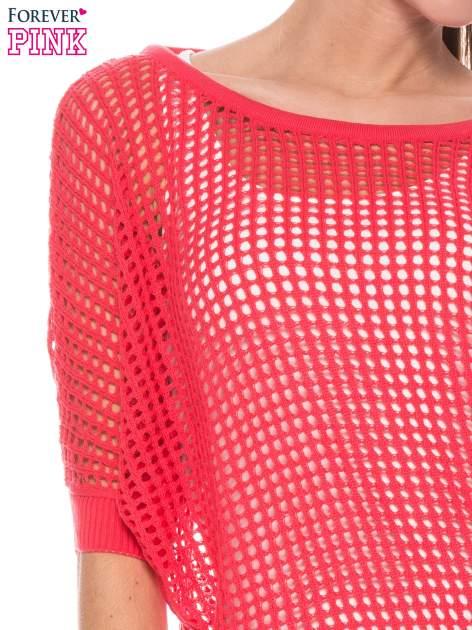 Fuksjowy ażurowy sweter oversize                                  zdj.                                  5