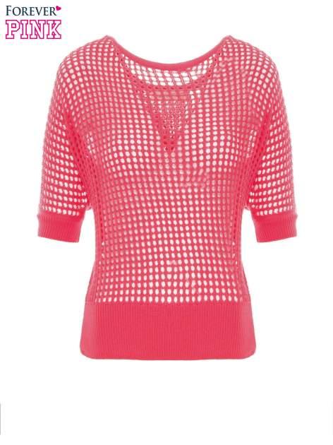 Fuksjowy ażurowy sweter oversize                                  zdj.                                  2