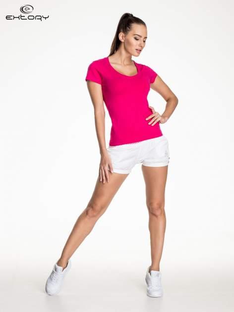 Fuksjowy modelujący damski t-shirt sportowy                                  zdj.                                  2