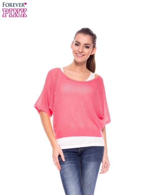Fuksjowy siateczkowy sweter oversize                                  zdj.                                  1