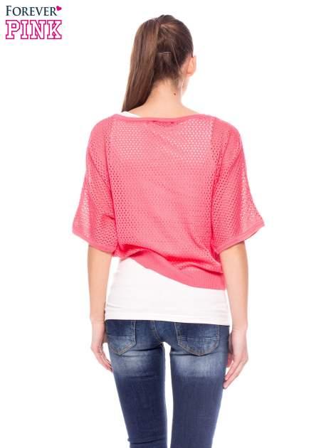 Fuksjowy siateczkowy sweter oversize                                  zdj.                                  4