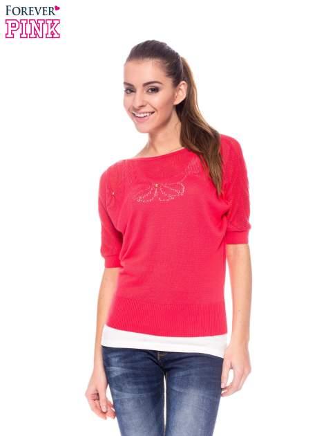 Fuksjowy sweter z ażurową górą i krótkim rękawkiem                                  zdj.                                  1