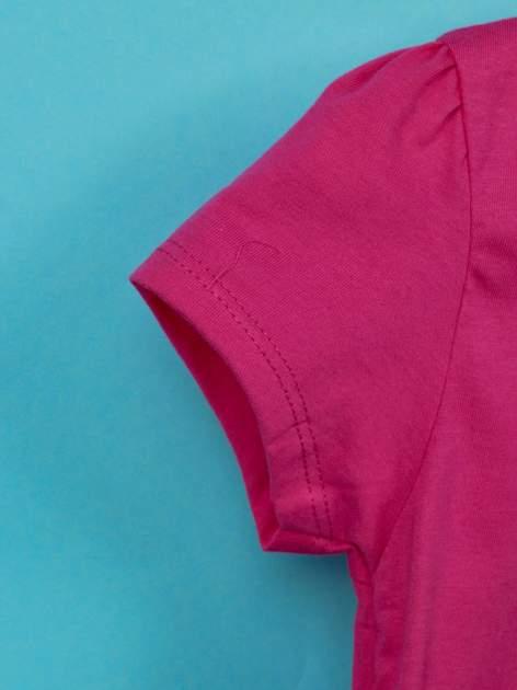 Fuksjowy t-shirt dla dziewczynki nadruk HELLO KITTY                                  zdj.                                  6