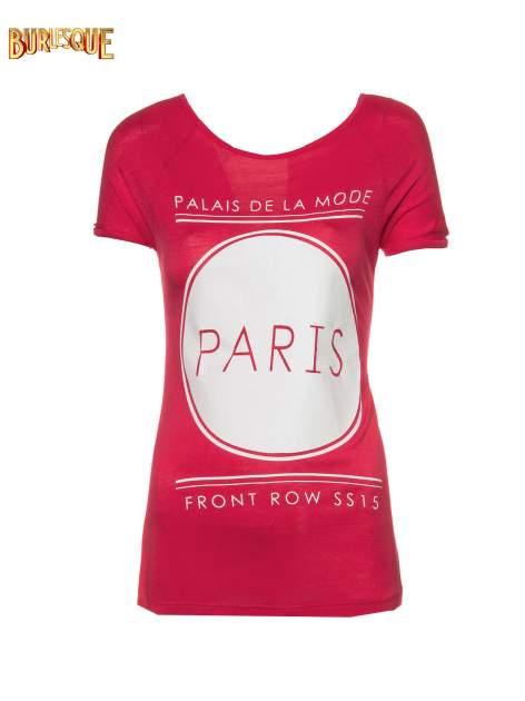 Fuksjowy t-shirt z nadrukiem PARIS                                  zdj.                                  1