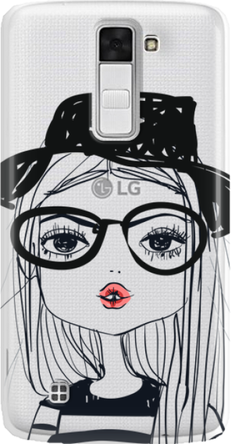 Funny Case ETUI LG K8 GIRL WITH PINK LIPS