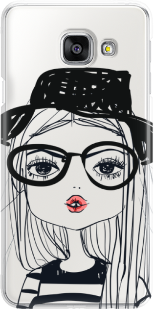 Funny Case ETUI SAMSUNG A3 2016 GIRL WITH PINK LIPS