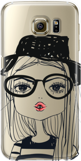 Funny Case ETUI SAMSUNG S6 GIRL WITH PINK LIPS