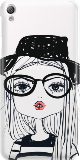 Funny Case ETUI SONY XPERIA E5 GIRL WITH PINK LIPS