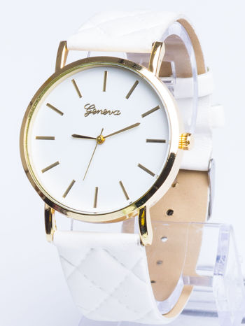 GENEVA Biały zegarek damski na pikowanym pasku