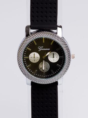 GENEVA Czarno-srebrny zegarek damski na miękkim żelowym pasku                                  zdj.                                  3