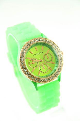 GENEVA Miętowy zegarek damski z cyrkoniami na silikonowym pasku                                  zdj.                                  1