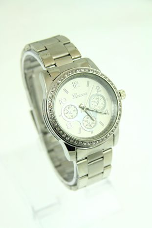 GENEVA Srebrny  zegarek damski z cyrkoniami na bransolecie