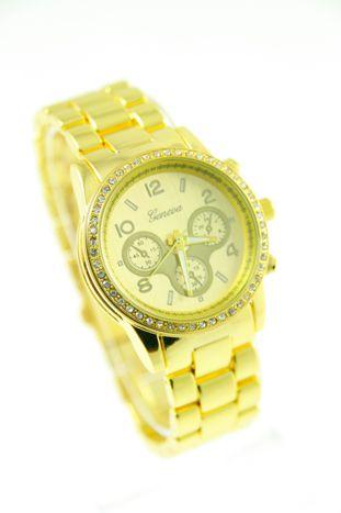 GENEVA Złoty zegarek damski z cyrkoniami na bransolecie GENEVA