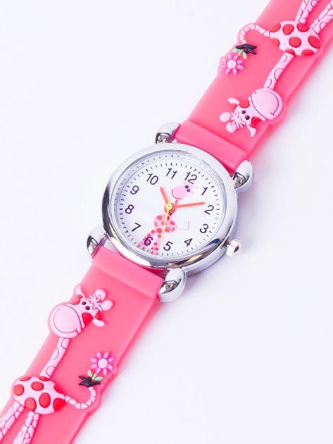GIRAFFE Malinowo-różowy Dziecięcy Zegarek ŻYRAFA