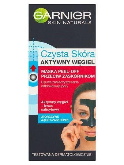 Garnier Czysta Skóra Maska peel-off przeciw zaskórnikom Aktywny Węgiel  50 ml