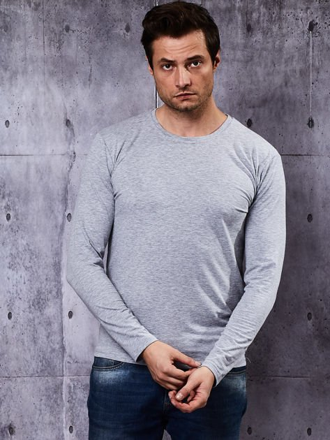 Gładka bluzka męska szara z długim rękawem                              zdj.                              6