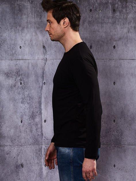 Gładka czarna bluzka męska z długim rękawem                              zdj.                              4
