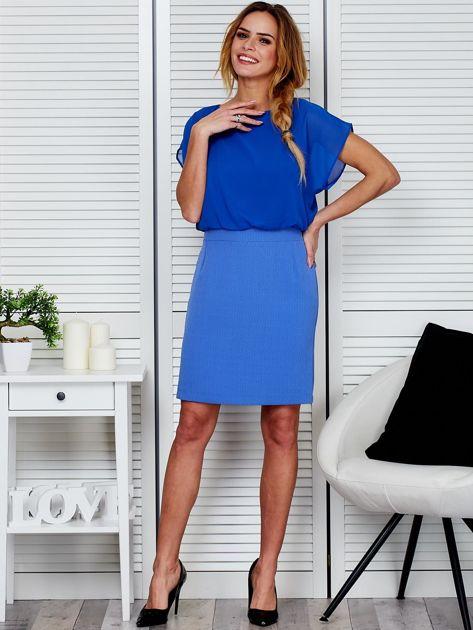 Gładka sukienka z łączonych materiałów niebieska                              zdj.                              4
