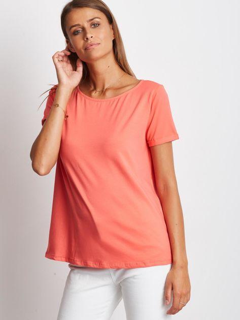 Gładki koralowy t-shirt z podwijanymi rękawami                              zdj.                              1
