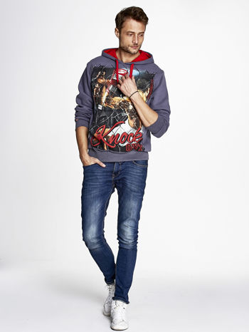 Grafitowa bluza męska z bokserskim nadrukiem                                  zdj.                                  4