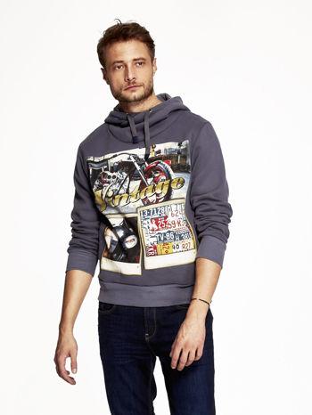 Grafitowa bluza męska z kapturem motyw motocyklowy                                  zdj.                                  1