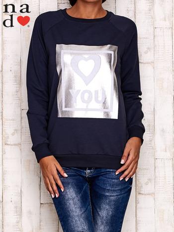 Grafitowa bluza z błyszczącym nadrukiem                                  zdj.                                  2
