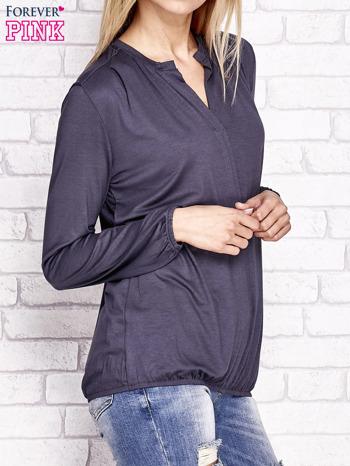 Grafitowa bluzka ze ściągaczem na dole                                  zdj.                                  3