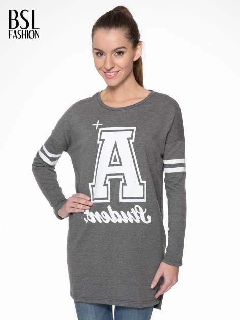 Grafitowa dresowa bluza z literą A w stylu baseballowym                                  zdj.                                  1