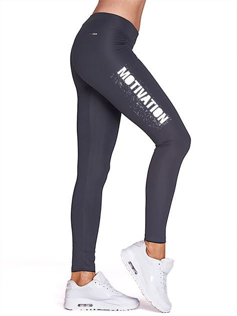 Grafitowe legginsy na siłownię z motywującym hasłem                                  zdj.                                  1