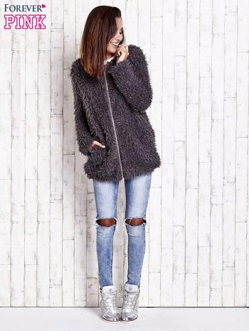 Grafitowy futrzany sweter kurtka na suwak                                  zdj.                                  3