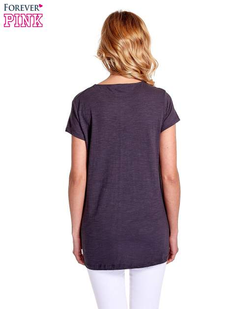 Grafitowy jednolity t-shirt                                  zdj.                                  4