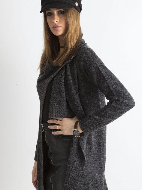 Grafitowy sweter z asymetrycznym zapięciem                              zdj.                              5