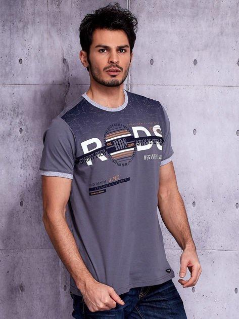 Grafitowy t-shirt męski z napisami                              zdj.                              5
