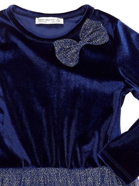 Granatowa aksamitna sukienka dla dziewczynki                              zdj.                              3