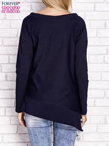 Granatowa asymetryczna bluza z troczkami                                  zdj.                                  2