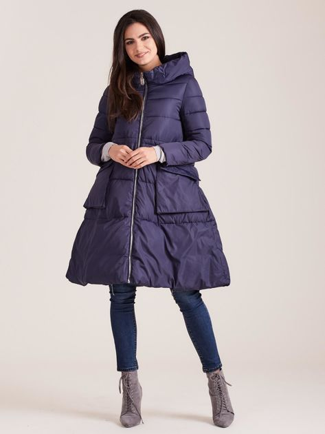 Granatowa asymetryczna kurtka zimowa                              zdj.                              4